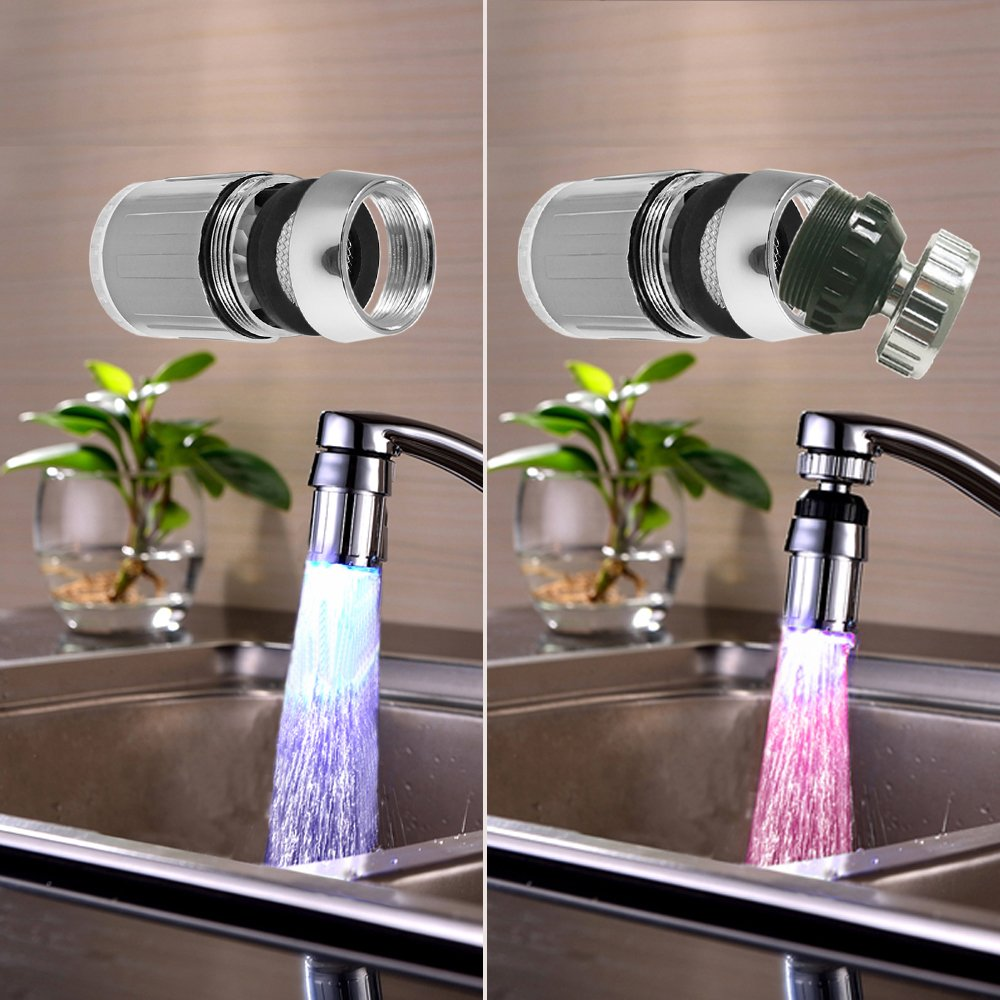 YUTUDU Water Glow LED Light Faucet Head LED Glowing Faucet Taps Flashing Color Lighting for Kitchen and Bathroom Faucet (Single Blue)
