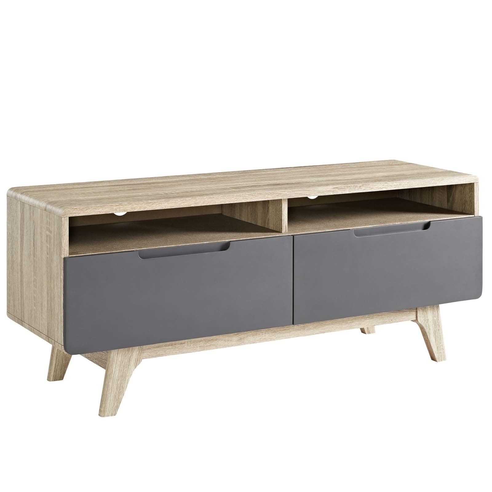 Modway Origin Mid-Century Modern 47 Inch TV Stand in Natural Gray