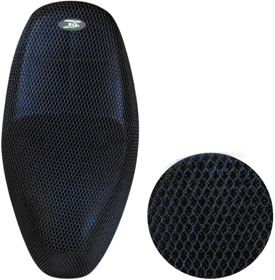 AUTUT Motorcycle Scooter Moped Seat Cover Seat Anti-Slip Cushion 3D Spacer Mesh Fabric L, Black Blue