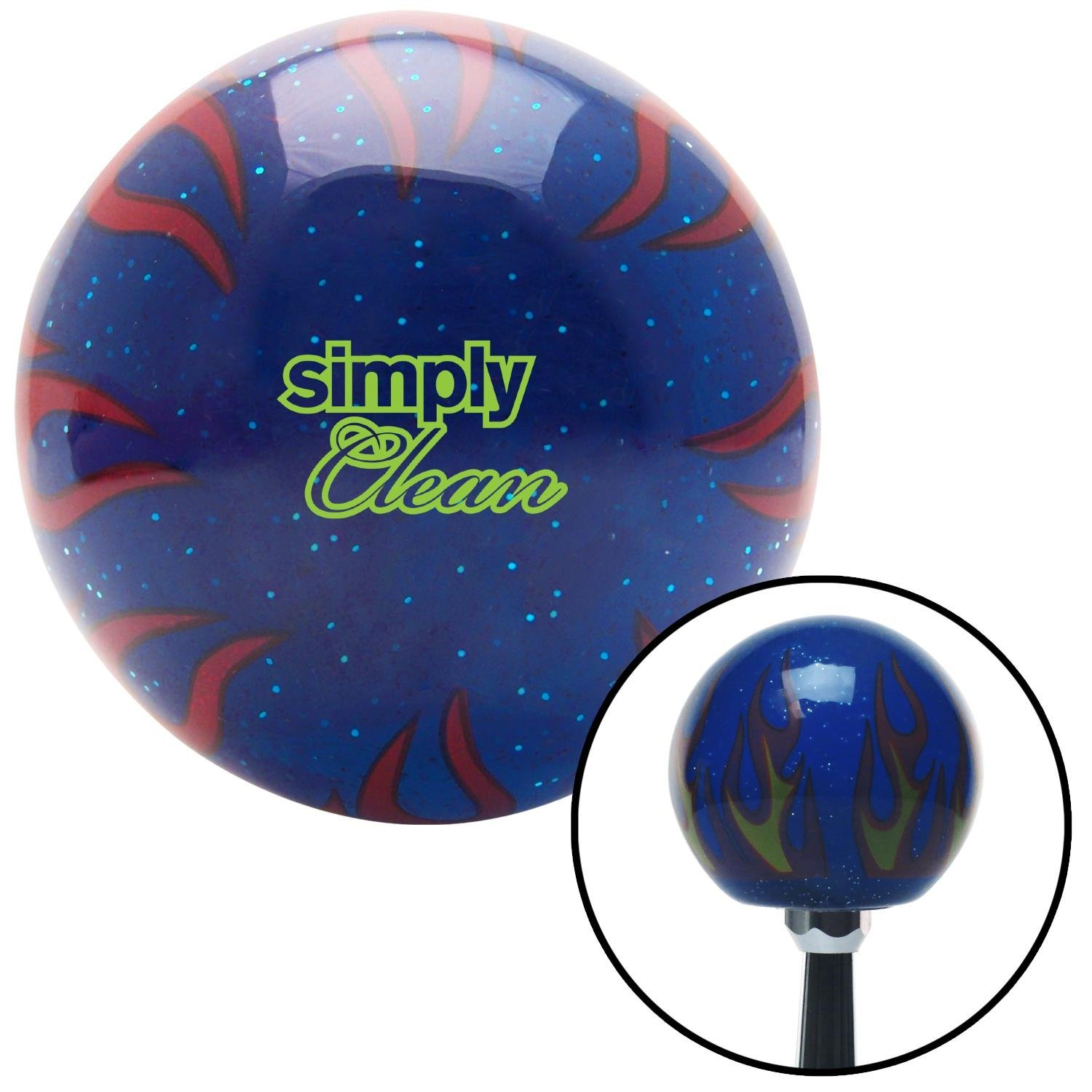 Red 6 Speed Shift Pattern - Dots 41 Black Flame Metal Flake with M16 x 1.5 Insert American Shifter 294766 Shift Knob