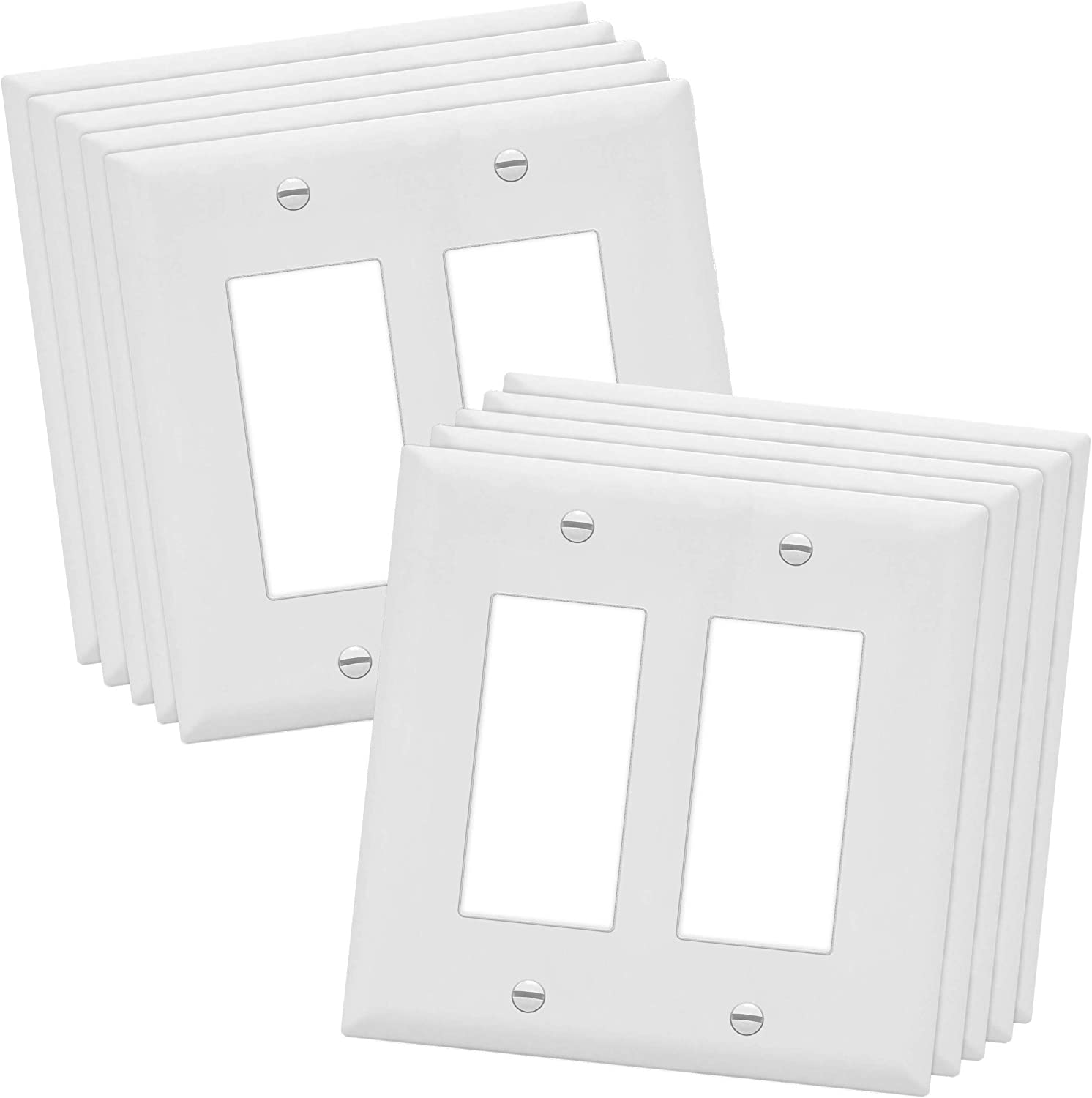 """ENERLITES Decorator Light Switch or Receptacle Outlet Wall Plate, Midway Size 2-Gang 4.88"""" x 4.92"""", Polycarbonate Thermoplastic, UL Listed, 8832M-W-10PCS, White (10 Pack)"""