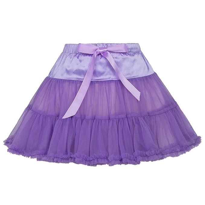 Niñas Falda de Tutú de Baile Ballet de Capas de Tul 1~3 Años Morado