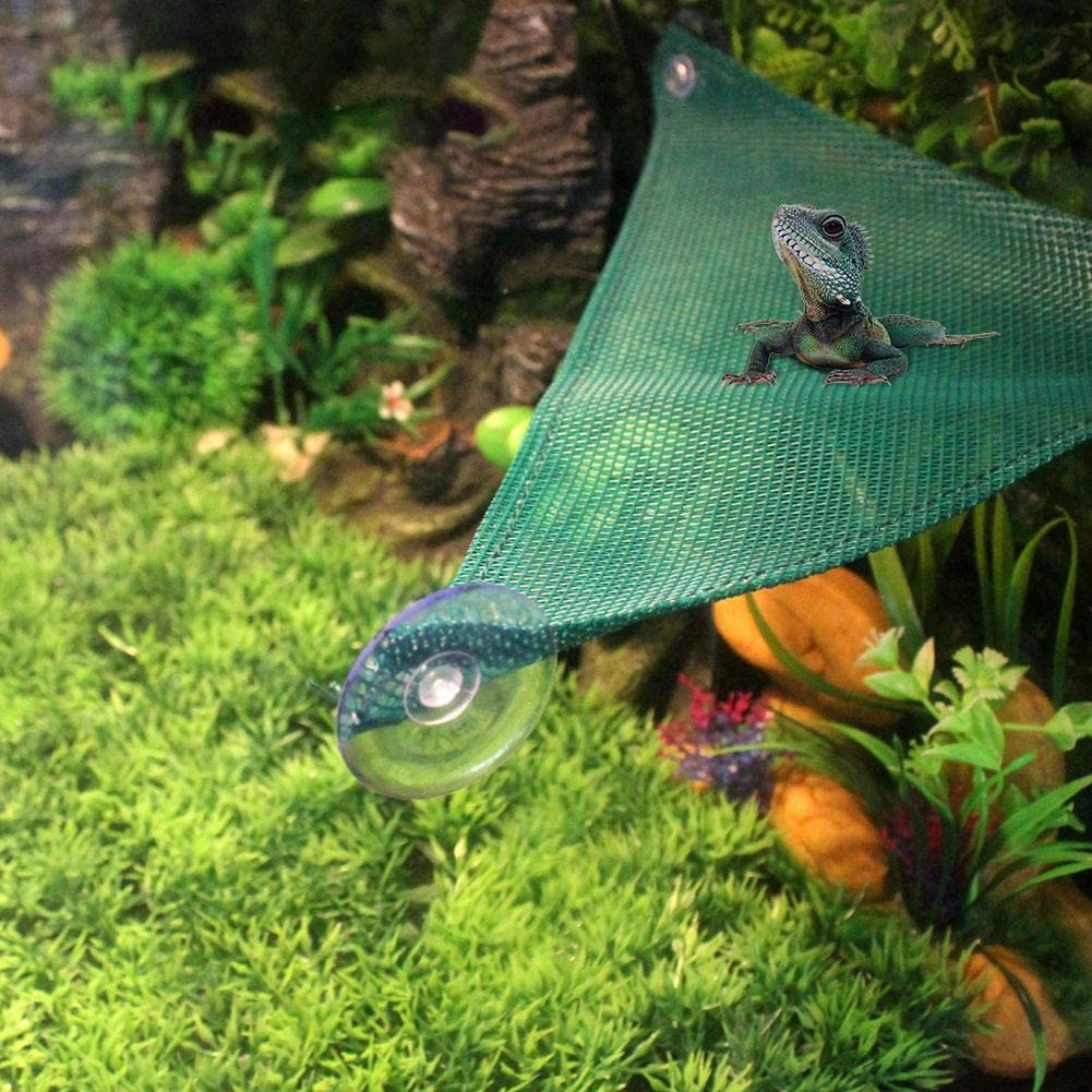 1 Chirsemey Green Simulator Triangular Glass Suction Cup Pet Hammock with Cylinder and Climbing Plant for Frog Lizard Chameleon S