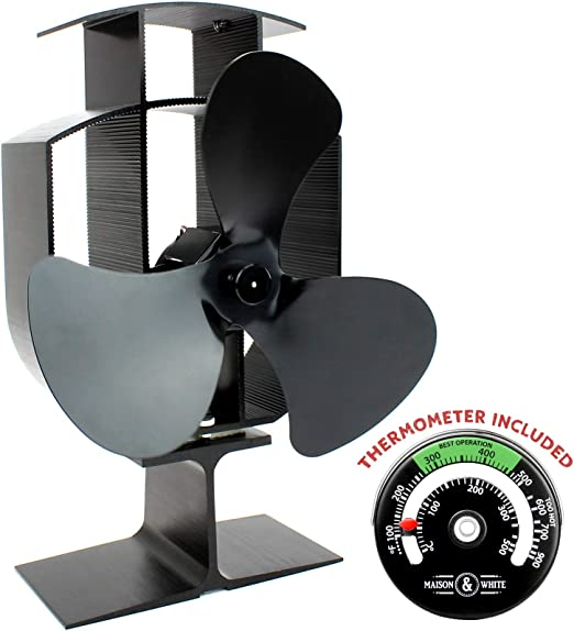 Calentador eléctrico con ventilador de 3 cuchillas y termómetro | Operación silenciosa | Chimenea de leña y estufa de leña | Enciende automáticamente | Seguro y ...
