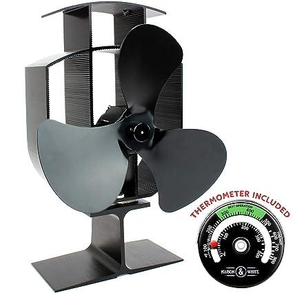 Calentador eléctrico con ventilador de 3 cuchillas y termómetro | Operación silenciosa | Chimenea de leña