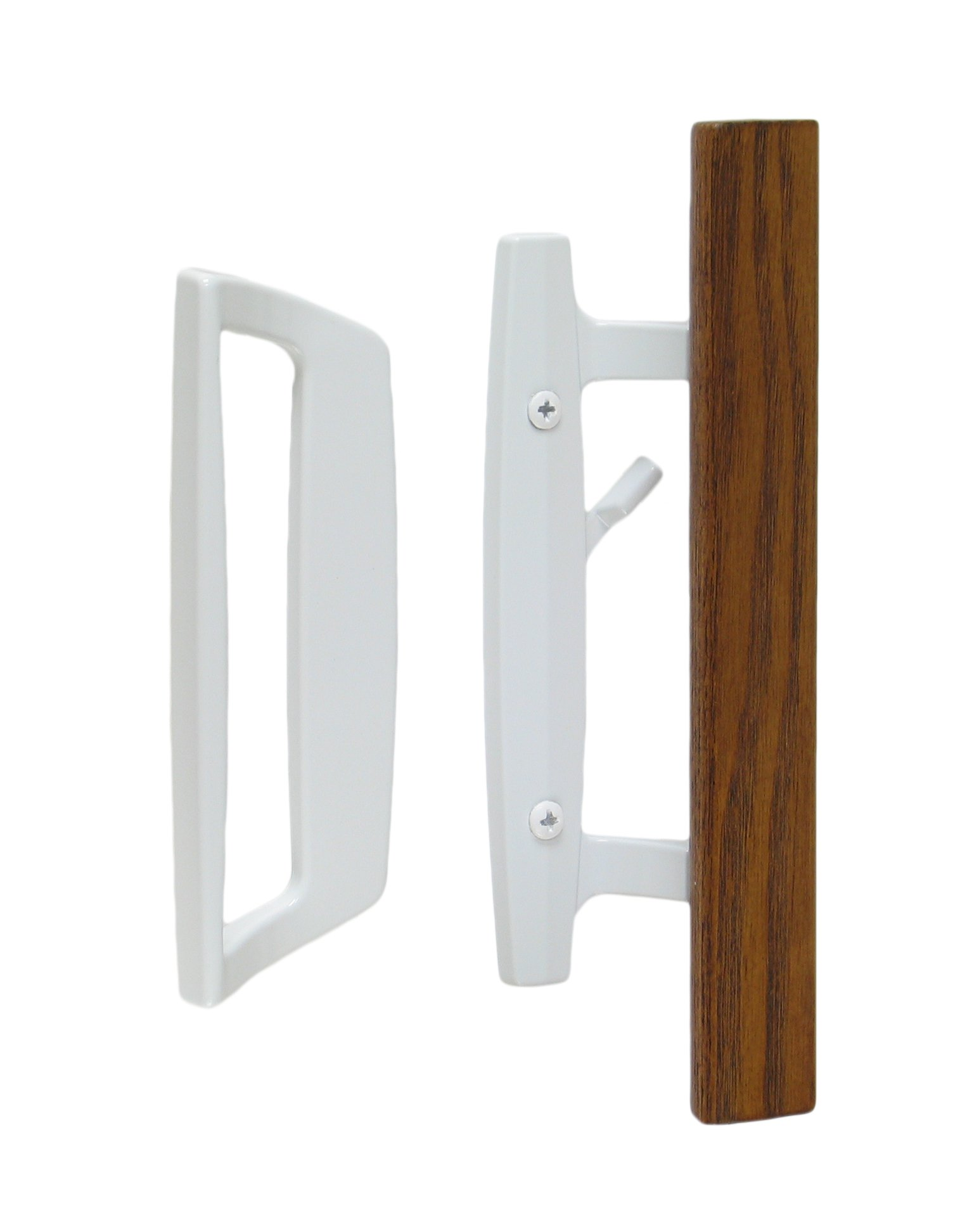 "Bali Nai Sliding Glass Door Handle and Mortise Lock Set with Oak Wood Pull in White Finish, Standard 3-15/16"" CTC Screw Holes, 1-1/2'' Door Thickness"