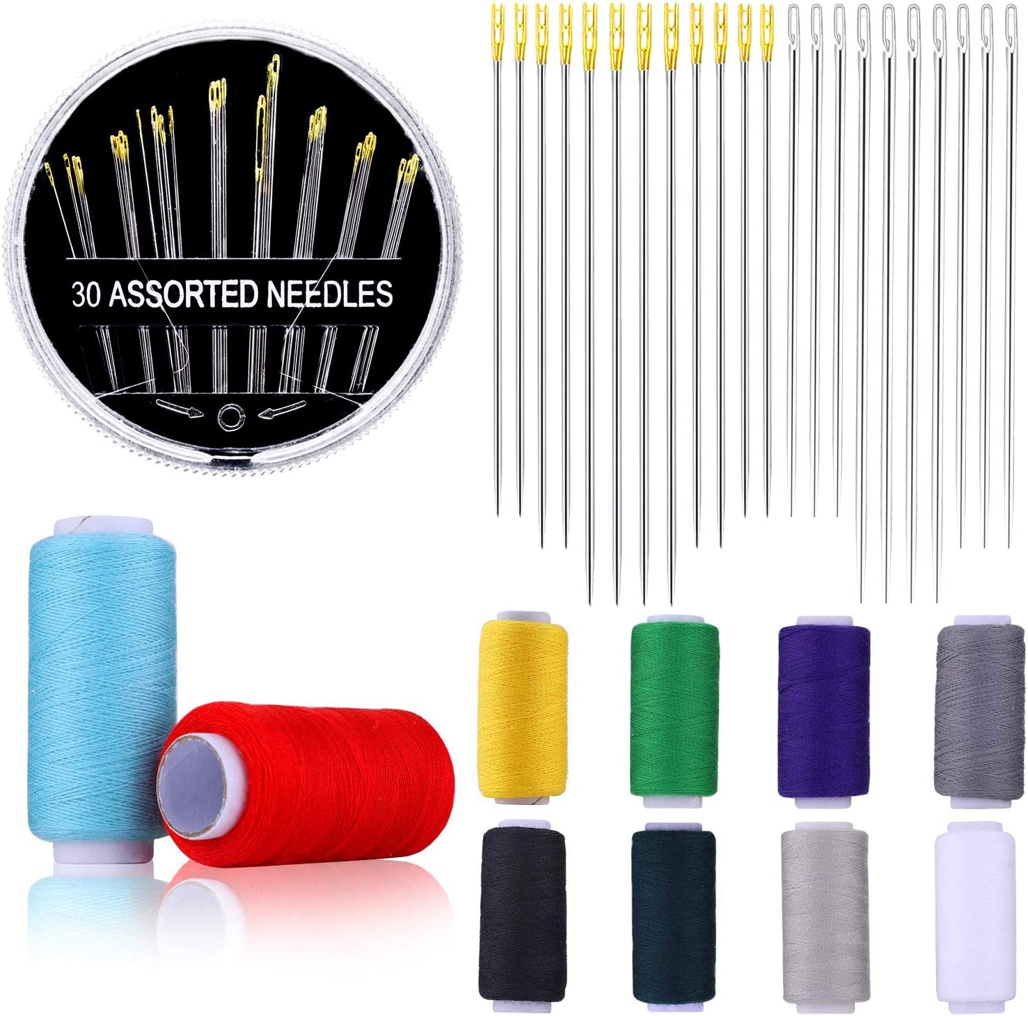 64 Pieces Hand Sewing Needles Set Including 30 Assorted Needles, 24 Blind Needles and 10 Spools Threads