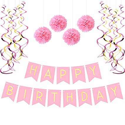 Birthday Party Pack Pastel Pink Happy Bunting Poms