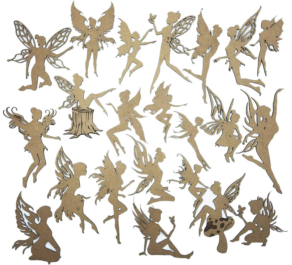 Creative Embellishments Scrapbook Laser Cut Chipboard Fairies Mega Pack 22 pieces (Kraft)