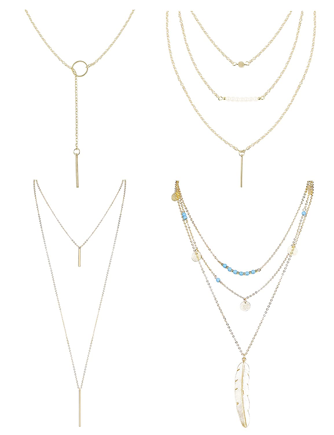 Amazon.com  Finrezio 4 PCS Layered Necklaces for Women Girls Long Lariat Y  Pendant Necklace Gold-tone Jewelry Set  Jewelry 5fb341516
