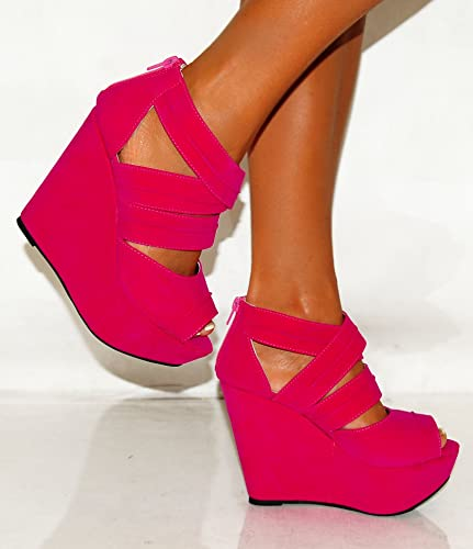 Ladies Womens Fuchsia Hot Bright Pink Faux Suede Wedges Strappy ...