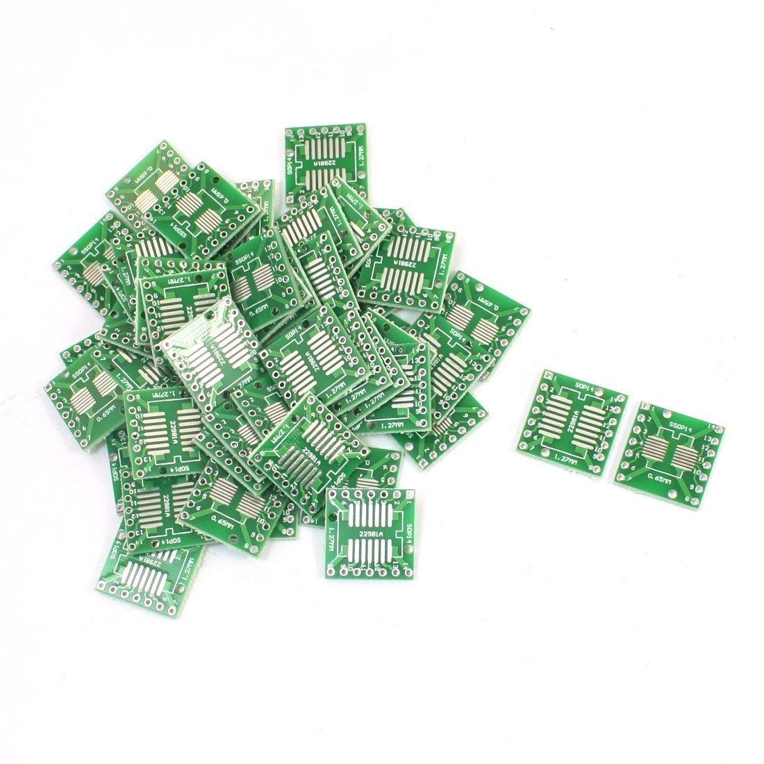Lot de 50 à DIP14 SOP14 SMD PCB Adaptateur plaque Pas 0, 65/1, 27 mm Sourcingmap a14062100ux0237