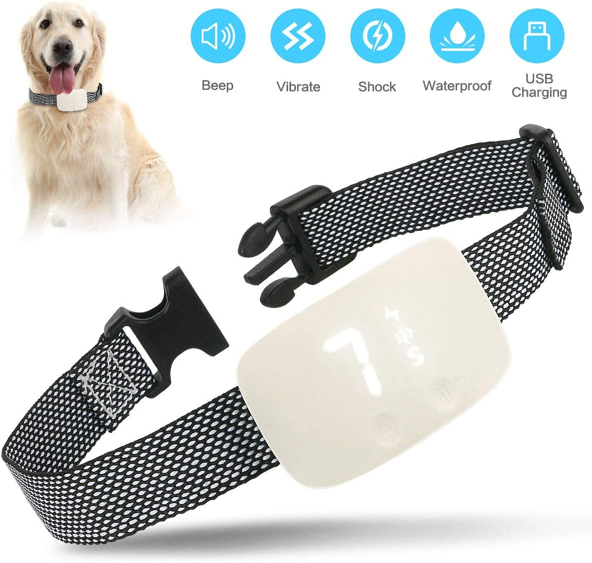 RJSY Dog Bark Collars for Small Medium Large Dogs Barking Control Training Collar Anti Bark Collar Rechargeable Waterproof No Bark Collar with 3 Modes Beep Vibration and No Harm Shock