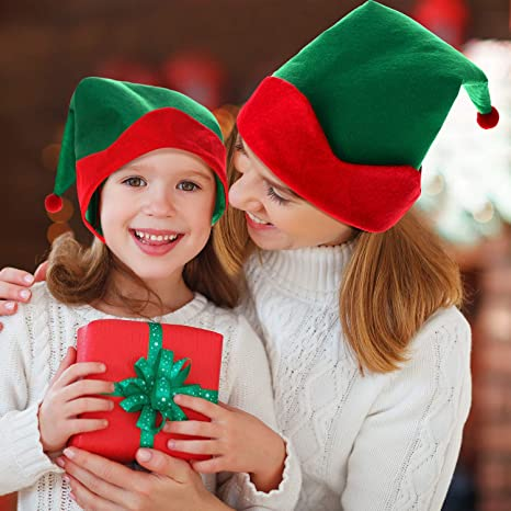 SATINIOR 4 Pieces Green Felt Elf Hats Christmas Santa Elf Hat Xmas Holiday Party Costume Favors Accessories Gifts for Kids