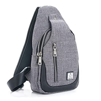 ca6643eb773 Amazon.com   Sling Bag Chest Shoulder Backpack Crossbody Bags for Men Women  Travel Outdoors (Large grey)   Casual Daypacks