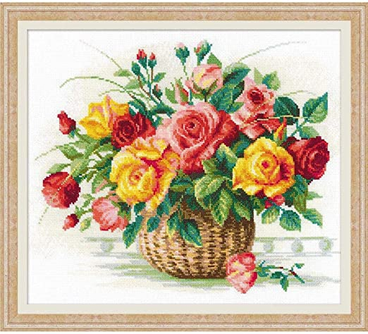 RIOLIS 898 Counted Cross Stitch Kit 13/¾ x 21/¾ Zweigart 10 ct Cream AIDA 22 Colors Pink Roses on Lattice