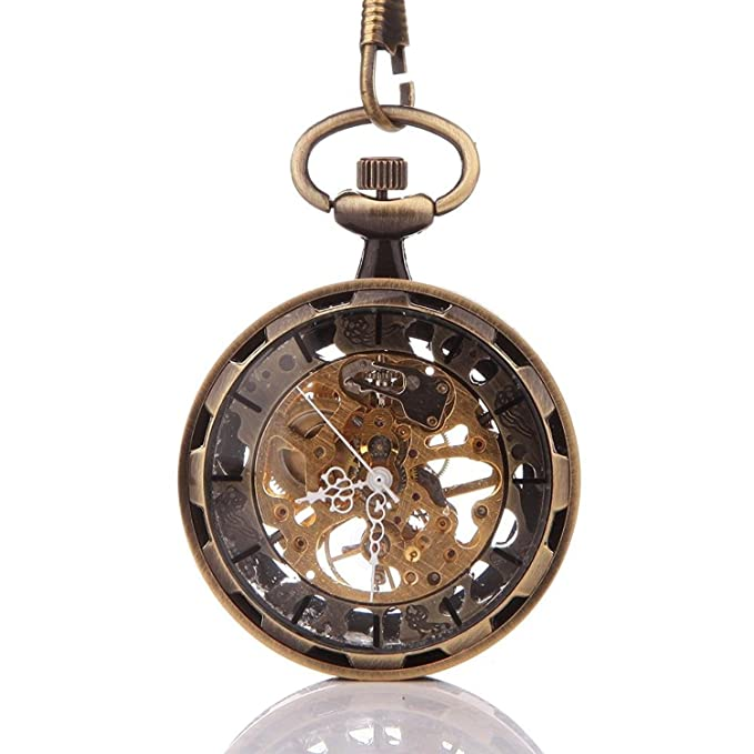Men's Steampunk Goggles, Guns, Gadgets & Watches Carrie Hughes Bronze Steampunk Mechanical skeleton Hand Winding Pocket watch with chain Fob for Men Woman $17.99 AT vintagedancer.com