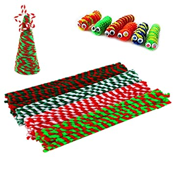 Christmas Preschool Art Projects.Pipe Cleaners Craft Chenille Stems For Kids Diy Assorted Colors Art Supplies Set Decorations Tool Creative Crafts Projects Christmas Children Handmade