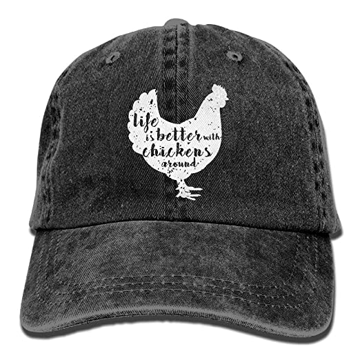 c133655426e Pants Hats Life is Better with Chickens Around Vintage Adjustable Cowboy  Hat Baseball Caps for Adult at Amazon Men s Clothing store