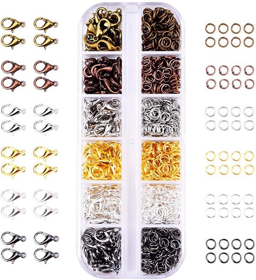 Ocobudbxw 972pcs 6 Colores Cierres de Garra de Langosta Anillos Abiertos para Hacer Joyas