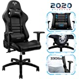【New Update】 Furgle Gaming Chair Racing Style High-Back Office Chair with Adjustable Armrests PU Leather Executive Ergonomic Swivel Video Game Chairs with Headrest and Lumbar Support (Black)