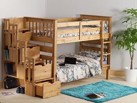Feliz camas litera de misión blanco escalera de madera de almacenamiento muebles dormitorio, pino encerado, 3FT - Frame Only: Amazon.es: Hogar