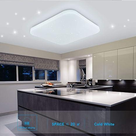 Luz de techo LED Baño Cocina Dormitorio Luces de techo Ducha Sala Comedor Estudio Balcón Pasillo Corredor Lámpara de techo Blanco frio 6000K Cuadrado ...