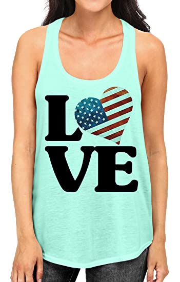 9ee7509533406f Junior s American Flag LOVE Tee B919 PLY Mint Green Racerback Tank Top Small