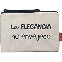 Hello-Bags Bolso Neceser/Cartera de Mano. Algodón 100%. Blanco. con Cremallera y Forro Interior. 23 * 15,5 cm. Incluye…