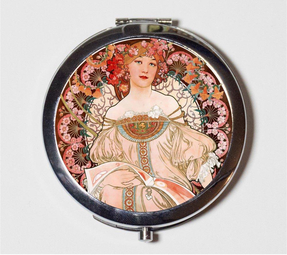 Alphonse Mucha Compact Mirror Art Nouveau Edwardian Champenois Bohemian Boho Make Up Pocket Mirror for Cosmetics
