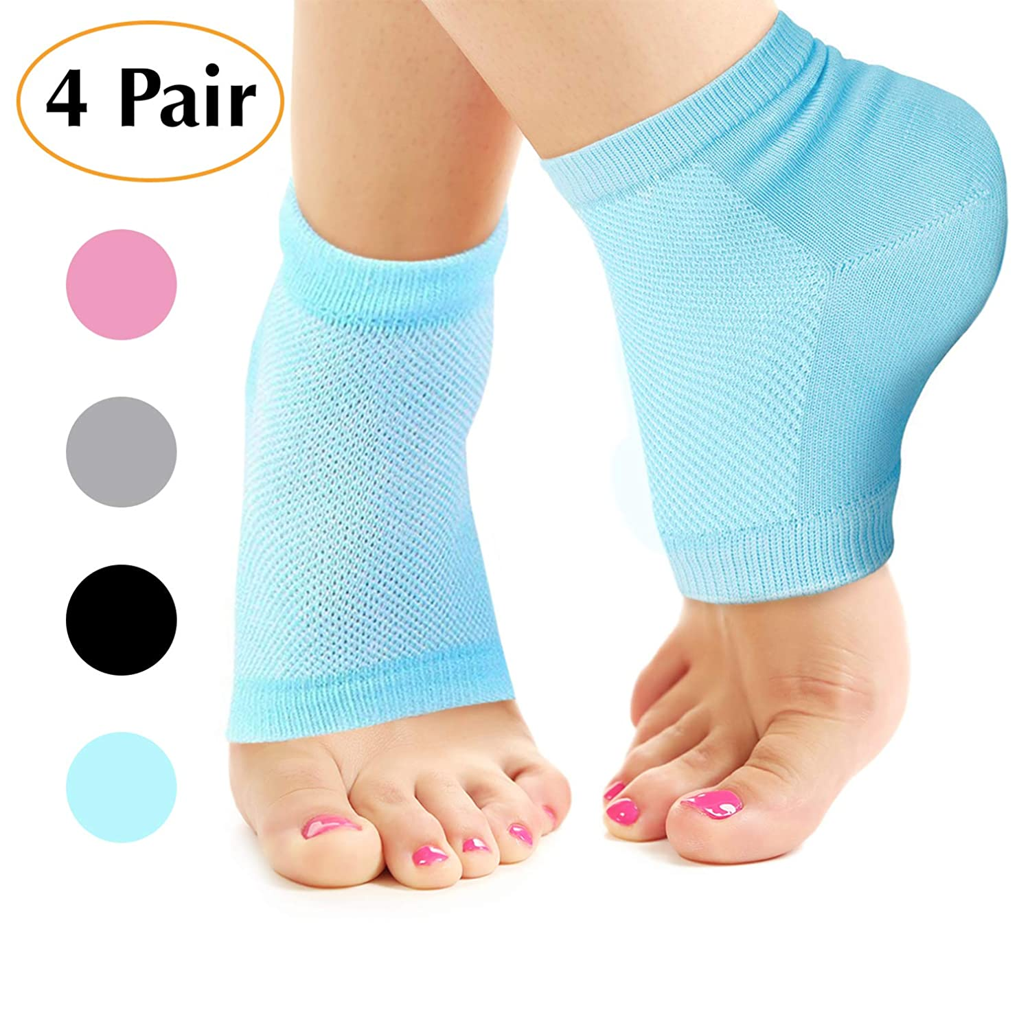 Nado Care Moisturizing Socks Lotion Gel for Dry Cracked Heels 4 Pack, Spa Gel Socks Humectant Moisturizer Heel Balm Foot Treatment Care Heel Softener Compression Cotton - Pink, Blue, Grey and Black …