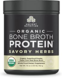 Ancient Nutrition Organic Bone Broth Protein Powder, Savory Herbs Flavor, 17 Servings Size - Organic, Gut-Friendly, Paleo-Friendly