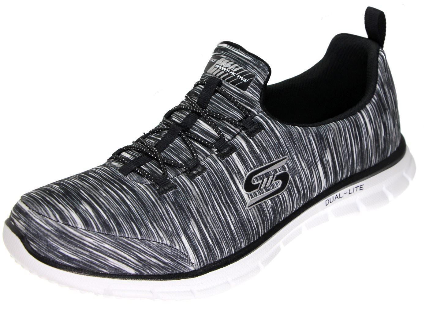 Skechers Sport Women's Glider Electricity Sneaker B079RCKW3B 8.5 B(M) US|Black/White Stripes