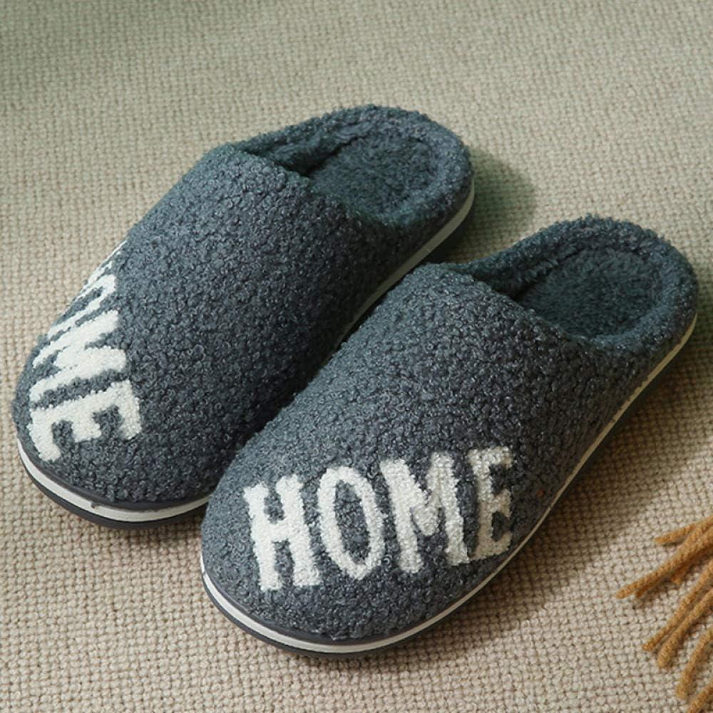 B/H de algodón con Memoria Zapatillas,Otoño e Invierno hogar Felpa par de Zapatos de algodón, Antideslizantes cálidos Zapatos de algodón-Gray_42-43,Pantuflas Mujer Suave Interior Caliente Slippers