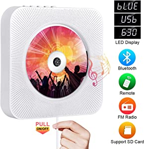 Portable CD Player with Bluetooth, Qoosea Wall Mountable CD Players Music Player Home Audio Boombox with Remote Control FM Radio Built-in HiFi Speakers LCD Display MP3 Headphone Jack AUX Input Output