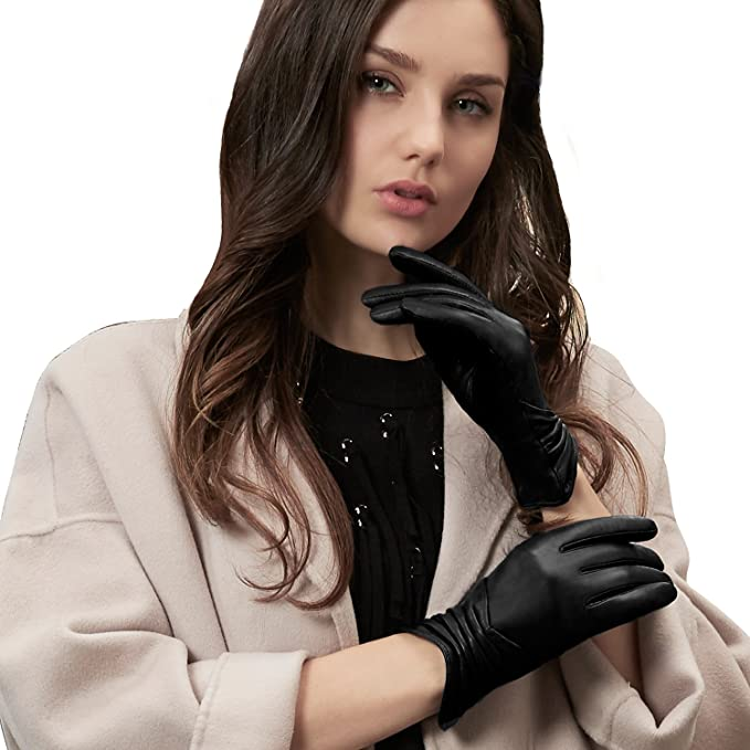 best selling free delivery good texture GSG Gifts Womens Leather Gloves Touchscreen Driving Fashion Warm Ladies  Gloves Winter Pleat Spain Nappa
