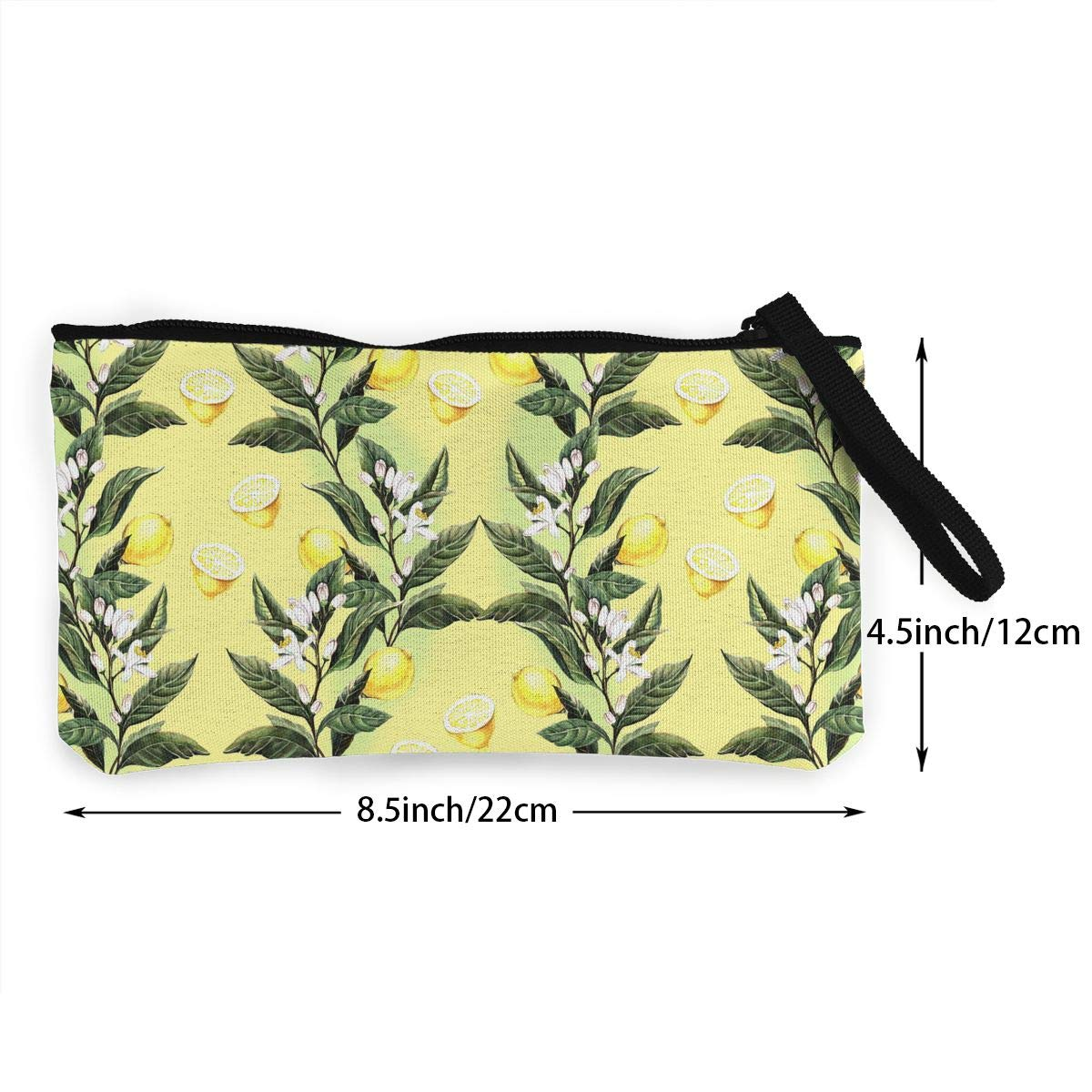 Girls Canvas Coin Case Zipper Small Purse Wallets Cellphone Clutch Purse With Wrist Strap Watercolor Lemons Pattern