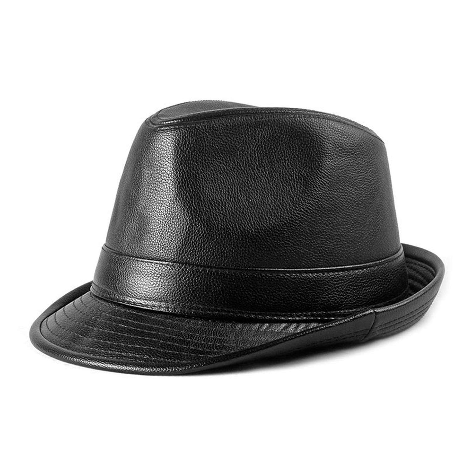 7aaacc4478d 2019 Winter PU Leather Fedoras Hats for Men Women Fedora Top Hat Panama  Jazz Cap Gorros Black at Amazon Men s Clothing store