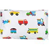 Wildkin Hypoallergenic Toddler Pillow Case, Features 100% Super Soft Cotton, Bold Patterns Coordinate with Other Bedding and Room Décor, Olive Kids Design – Trains, Planes, and Trucks