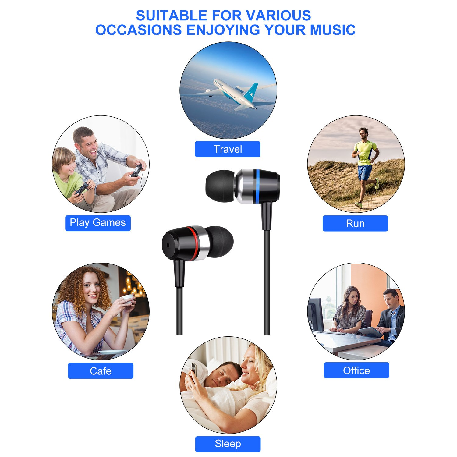 Earbuds Ear Buds Wired Earphones Headphones with Microphone Noise Cancelling Ear Phones Stereo in Ear Headphones Sports Earbuds with Mic and Volume Control Compatible iPhone Android iPad Laptop by TZCER (Image #2)