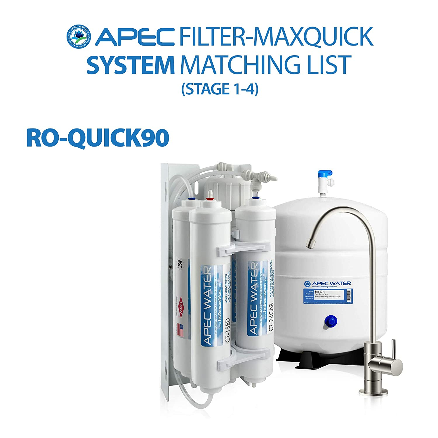 APEC WATER Systems Filter-MAXQUICK US Made 90 GPD Complete Replacement Filter Set for Ultimate Series Reverse Osmosis Water Filter System RO-QUICK90 Stage 1-4