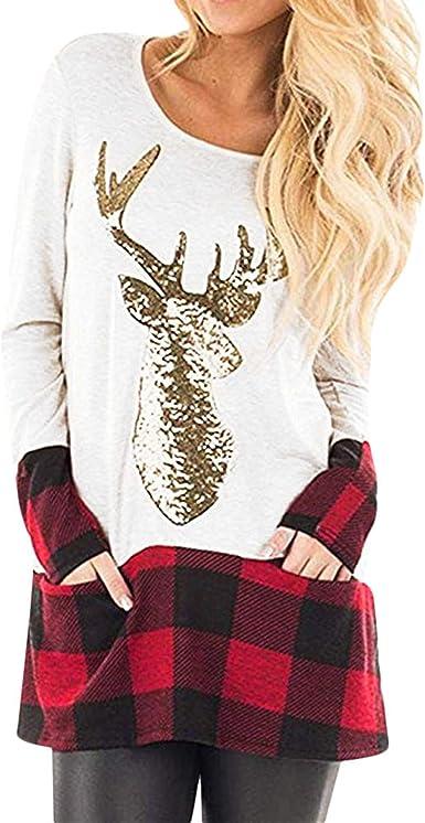 Camisas Mujer Largas Navidad Jersey con Estampado de Cuadros ...