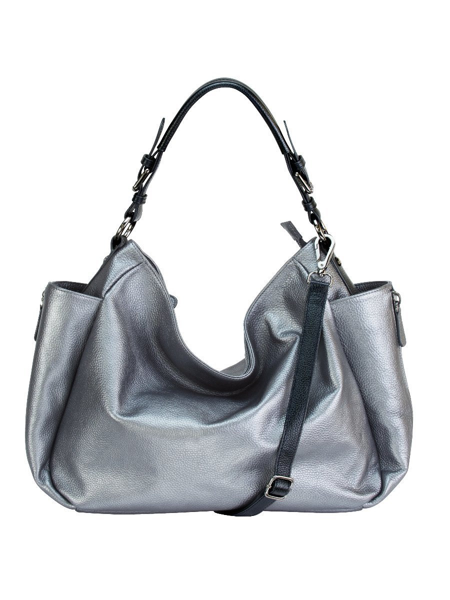 RHAPSODIC Pebble Leather Hobo-Style Shoulder Bag Complete with Padded Handle and Crossbody Strap