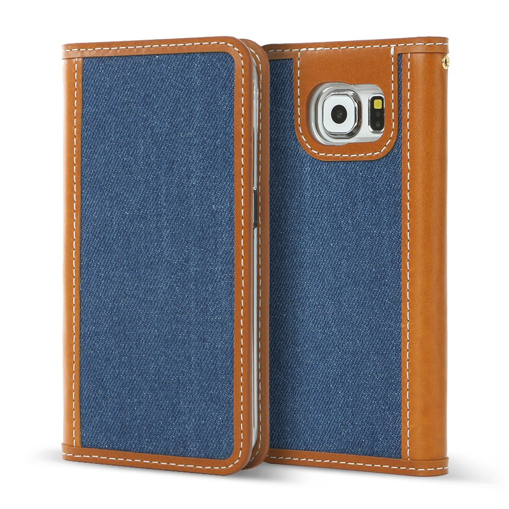 DesignSkin GS6WBDN5101 Samsung Galaxy S6 Case, Wetherby 100% Handcrafted Fine Denim with Genuine Cow Leather ID Credit Card Slot Paper Bill Storage Unique Style Wallet Case - Blue