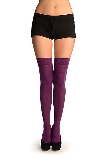 Plain Lilac Over the Knee Socks