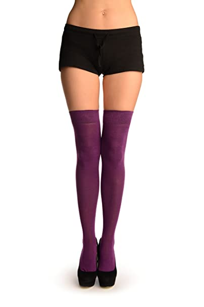 Plain Light Maroon Over The Knee Socks - Morado Calcetines hasta la rodilla Talla unica (