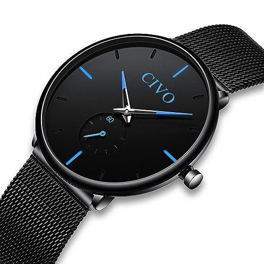 CIVO Reloj Negro Ultra Fino para Hombre Minimalista Lujo Moda Relojes de Pulsera para Hombres Vestir