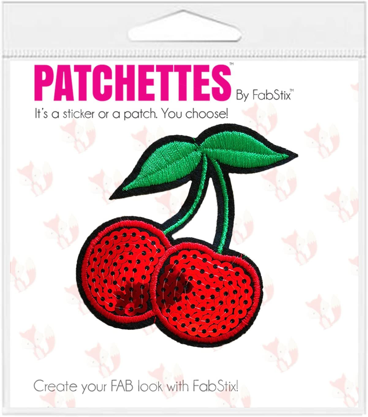 Sequin Cherries Iron On Patch Badge Motif Decoration For Clothing Cloth P026