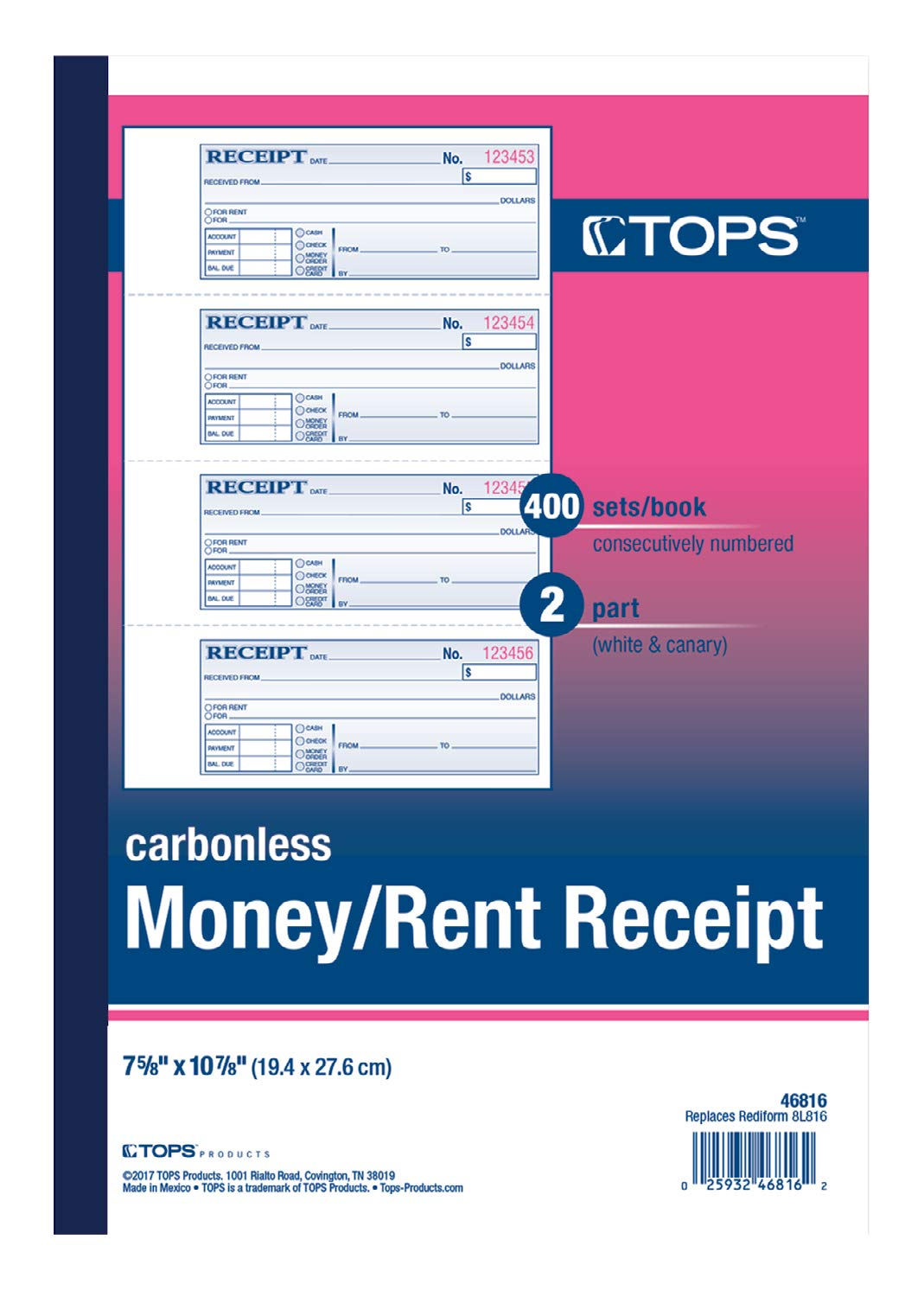 TOPS Money Receipt Book, 2-Part, Carbonless, 2-3/4 x 7-1/8 Inches, 4 Receipts per Page, 400 Sets per Book (46816) by Tops (Image #2)