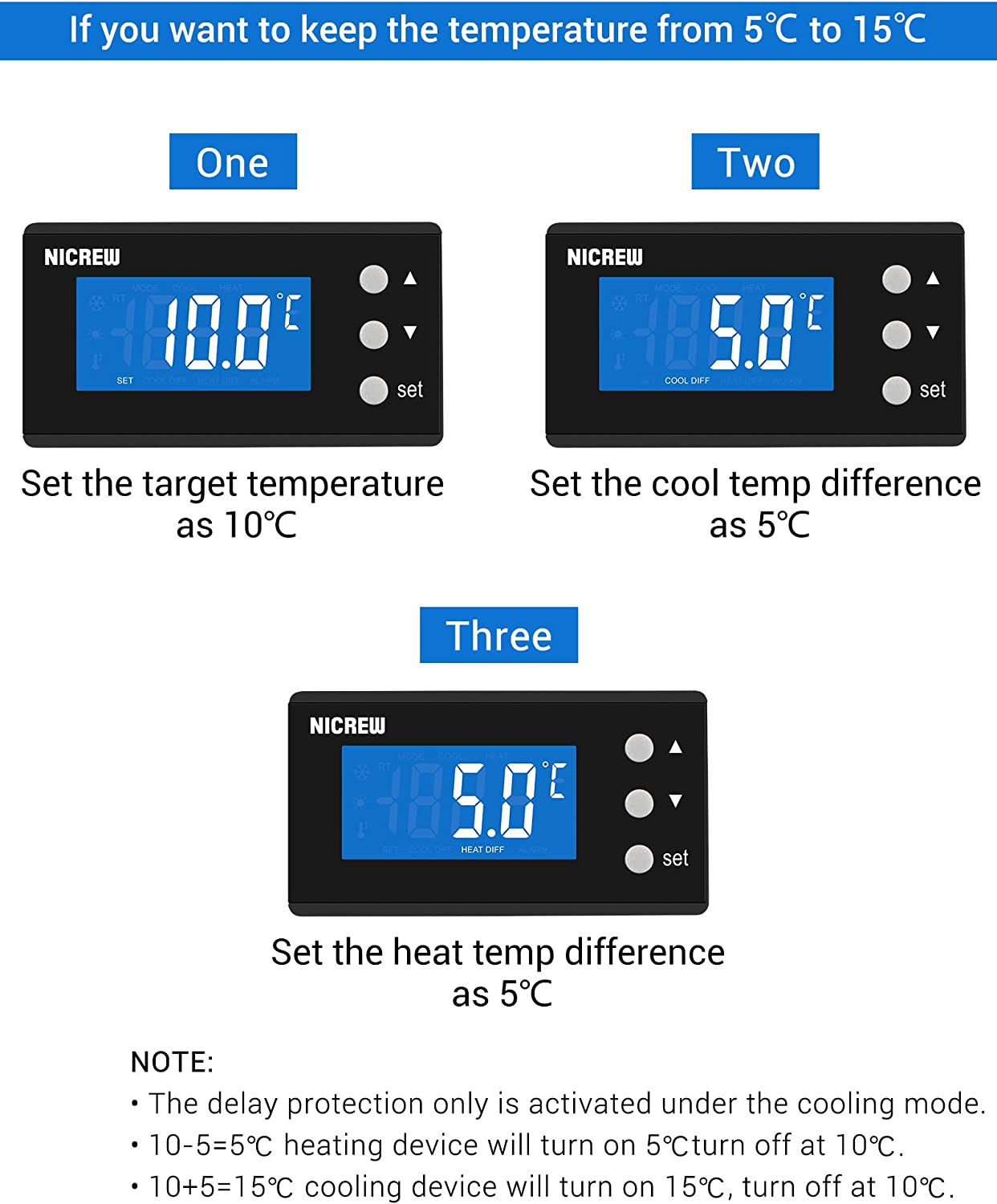 Aquarium and Reptile Vivarium Incubation NICREW Temperature Controller Heating and Cooling Thermostats for Home Brewing Grow Tent 1100W 220V